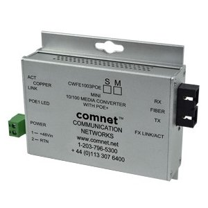 "ComNet CWFE1002BPOES/M Commercial Grade 100Mbps Media Converter with 48V POE, Mini, ""B"" Unit"