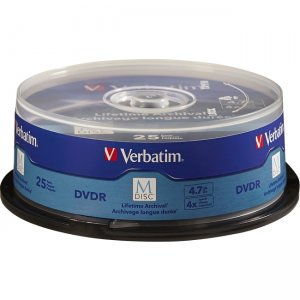 Verbatim 98908 M-Disc DVDR 4.7GB 4X with Branded Surface - 25pk Spindle
