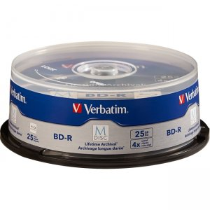 Verbatim 98909 M-Disc BD-R 25GB 4X with Branded Surface - 25pk Spindle