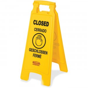 "Rubbermaid Commercial 6112-78YW 6112-78 Floor Sign with Multi-Lingual ""Closed"" Imprint, 2-Sided RCP611278YW"