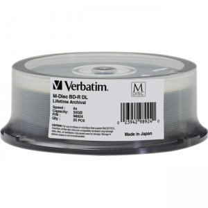 Verbatim 98924 M-Disc BD-R DL 50GB 6X with Branded Surface - 25pk Spindle