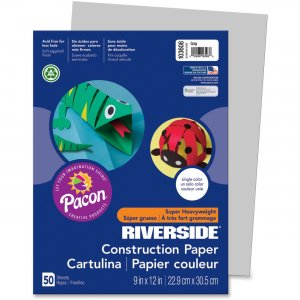 "Riverside 103608 Groundwood Construction Paper, 9"" x 12"", Gray, 50 Sheets PAC103608"