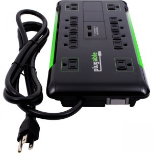 Plugable PS12-USB2B 12 AC Outlet Surge Protector with Built-In 10.5W 2-Port USB Charger