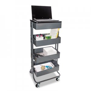 Vertiflex VRTVF51025 Multi-Use Storage Cart/Stand-Up Workstation, 13.9w x 11.75d x 18.5-39.5h, Gray
