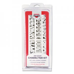 COSCO COS098233 Character Kit, Letters, Numbers, Symbols, White, Helvetica, 258 Pieces