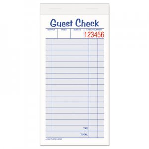 Adams ABF10450SW Guest Check Unit Set, Carbonless Duplicate, 6 7/8 x 3 3/8, 50 Forms, 10/Pack