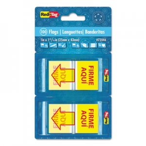 "Redi-Tag RTG72046 Spanish Page Flags in Pop-Up Dispenser, ""FIRME AQUl"", Red/Yellow, 100/Pack"