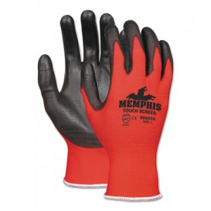 MCR Safety CRW9669TRL Touch Screen Nylon/Polyurethane Gloves, Black/Red, Large