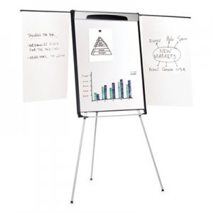 "MasterVision BVCEA23066720 Tripod Extension Bar Magnetic Dry-Erase Easel, 39"" to 72"" High, Black/Silver"