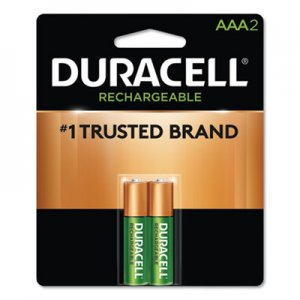 Duracell DURNLAAA2BCD Rechargeable NiMH Batteries, AAA, 2/PK