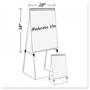 "MasterVision BVCEA2300335MV Silver Easy Clean Dry Erase Quad-Pod Presentation Easel, 45"" to 79"", Silver"