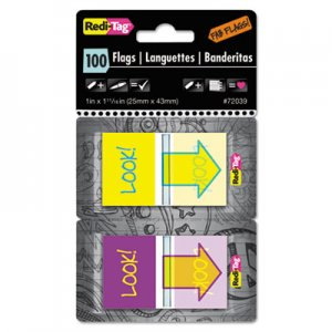 "Redi-Tag RTG72039 Pop-Up Fab Page Flags w/Dispenser, ""Look!"", Purple/Yellow; Yellow/Teal, 100/Pack"