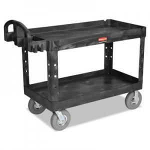 Rubbermaid Commercial RCP4546BLA Heavy-Duty 2-Shelf Utility Cart, TPR Casters, 26w x 55d x 33 1/4h, Black