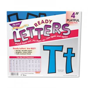 "TREND TEPT79744 Ready Letters Playful Combo Set, Blue, 4""h, 216/Set"
