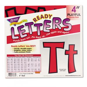 "TREND TEPT79742 Ready Letters Playful Combo Set, Red, 4""h, 216/Set"