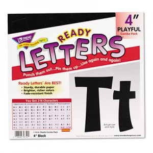 "TREND TEPT79741 Ready Letters Playful Combo Set, Black, 4""h, 216/Set"