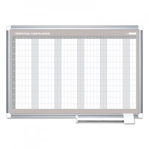 MasterVision BVCGA0594830 Perpetual Year Planner, 48x36, White/Silver