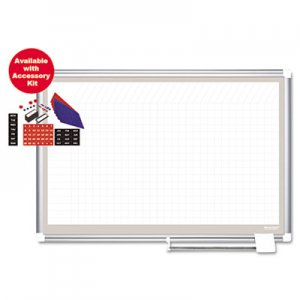 MasterVision BVCCR1232830A All Purpose Porcelain Dry Erase Planning Board, 1 x 1 Grid, 72 x 48, Silver