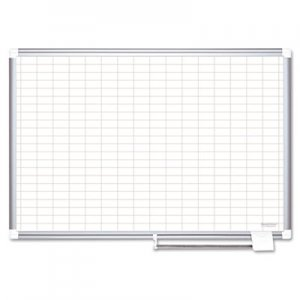 MasterVision BVCCR1230830 Gridded Magnetic Porcelain Planning Board, 1 x 2 Grid, 72 x 48, Aluminum Frame