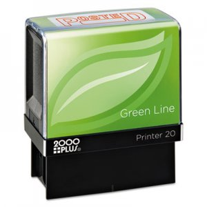 COSCO 2000PLUS COS098371 Green Line Message Stamp, Posted, 1 1/2 x 9/16, Red