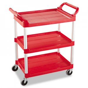 Rubbermaid Commercial RCP342488RED Service Cart, 200-lb Cap, Three-Shelf, 18-5/8w x 33-5/8d x 37-3