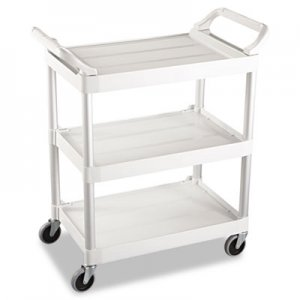 Rubbermaid Commercial RCP342488OWH Service Cart, 200-lb Cap, Three-Shelf, 18-5/8w x 33-5/8d x 37-3