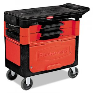 Rubbermaid Commercial RCP618088BLA Locking Trades Cart, 330-lb Cap, Two-Shelf, 19-1/4w x 38d x 33-3/8h