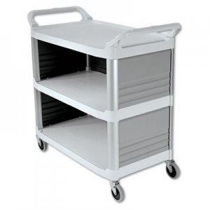 Rubbermaid Commercial RCP4093CRE Xtra Utility Cart, 300-lb Cap, Three-Shelf, 20w x 40-5/8d x 37-4/5h
