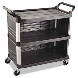 Rubbermaid Commercial RCP4093BLA Xtra Utility Cart, 300-lb Cap, Three-Shelf, 20w x 40-5/8d x 37-4/5h