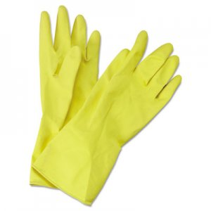Boardwalk BWK242M Flock-Lined Latex Cleaning Gloves, Medium, Yellow, 12 Pairs