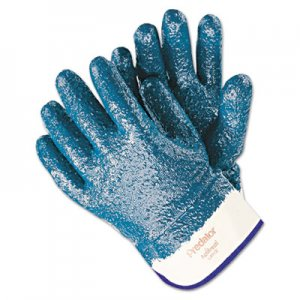 MCR Safety MPG9761R Predator Premium Nitrile-Coated Gloves, Blue/White, Large, 12 Pairs
