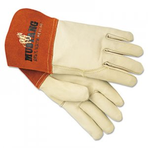 MCR Safety MPG4950L Mustang MIG/TIG Leather Welding Gloves, White/Russet, Large, 12 Pairs