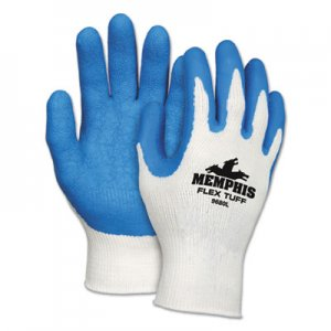 MCR Safety MPG9680L FlexTuff Latex Dipped Gloves, White/Blue, Large, 12 Pairs
