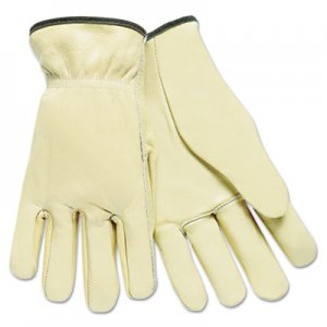 MCR Safety MPG3200L Full Leather Cow Grain Driver Gloves, Tan, Large, 12 Pairs