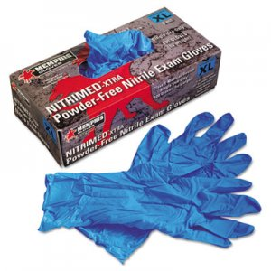 MCR Safety MPG6012XL Nitri-Med Disposable Nitrile Gloves, Blue, X-Large, 100/Box