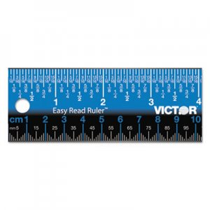 "Victor VCTEZ12SBL Easy Read Stainless Steel Ruler, Standard/Metric, 12"", Blue"