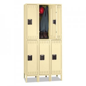 Tennsco TNNDTS1218363SD Double Tier Locker with Legs, Triple Stack, 36w x 18d x 78h, Sand