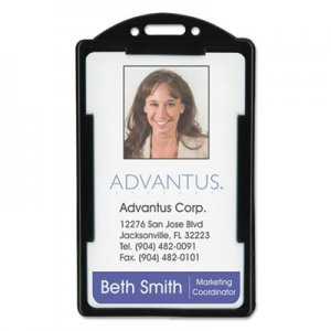 Advantus AVT75657 Vertical ID Card Holders, 2 1/8 x 3 3/8, Black, 25 per Pack