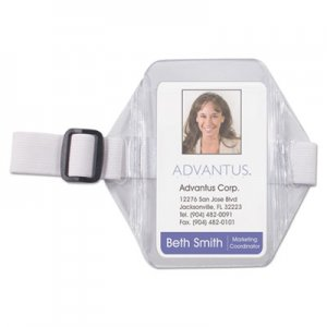 Advantus AVT75649 Vertical Arm Badge Holder, 2 1/2 x 3 1/2, Clear/White, 12 per Box