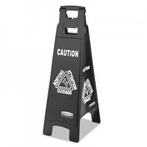 Rubbermaid Commercial RCP1867509 Executive 4-Sided Multi-Lingual Caution Sign, Black/White, 11 9/10 x 38
