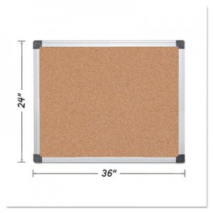 MasterVision BVCCA031170 Value Cork Bulletin Board with Aluminum Frame, 24 x 36, Natural