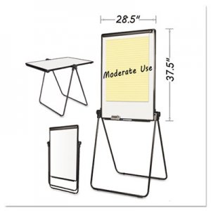 MasterVision BVCEA14000583MV Folds-to-a-Table Melamine Easel, 28 1/2 x 37 1/2, White, Steel/Laminate