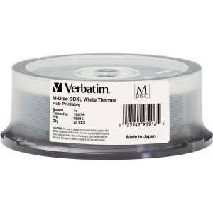 Verbatim 98916 M-Disc BDXL 100GB 4X White Thermal Printable, Hub Printable - 25pk Spindle