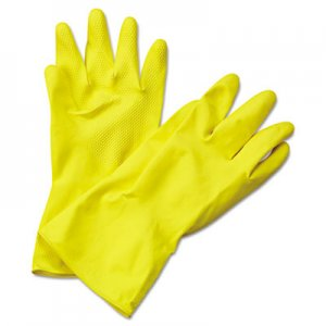 Boardwalk BWK242XL Flock-Lined Latex Cleaning Gloves, X-Large, Yellow, 12 Pairs
