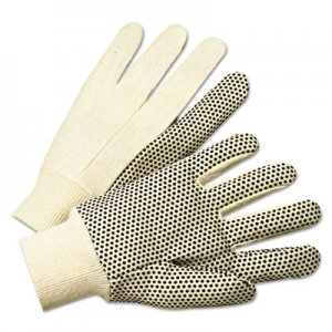 Anchor Brand ANR1000 PVC-Dotted Canvas Gloves, White, One Size Fits All, 12 Pairs