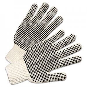Anchor Brand ANR6705 PVC-Dotted String Knit Gloves, Natural White/Black, 12 Pairs