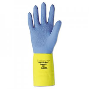 AnsellPro ANS22410 Chemi-Pro Neoprene Gloves, Blue/Yellow, Size 10, 12 Pairs