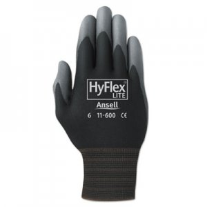 AnsellPro ANS1160010BK HyFlex Lite Gloves, Black/Gray, Size 10, 12 Pairs