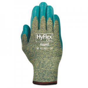 AnsellPro ANS1150110 HyFlex Medium-Duty Assembly Gloves, Blue/Green, Size 10, 12 Pairs