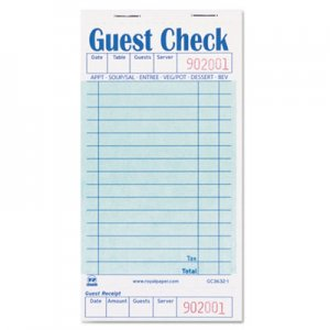 Royal RPPGC36321 Guest Check Book, 3 1/2 x 6 7/10, 50/Book, 50 Books/Carton